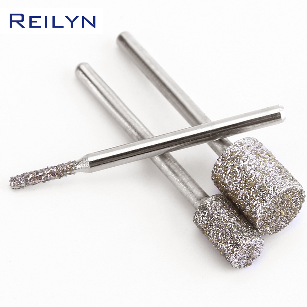 Купить с кэшбэком #60 cylinder shape coarse grained diamond bit dremel grinding burr dremel tools for polishing peeling for dremel/rotary tools