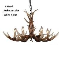 6 Head 10 Head Modern Antler Chandelier Retro Resin Deer Horn Chandeliers Lighting Palace Lustres Europe