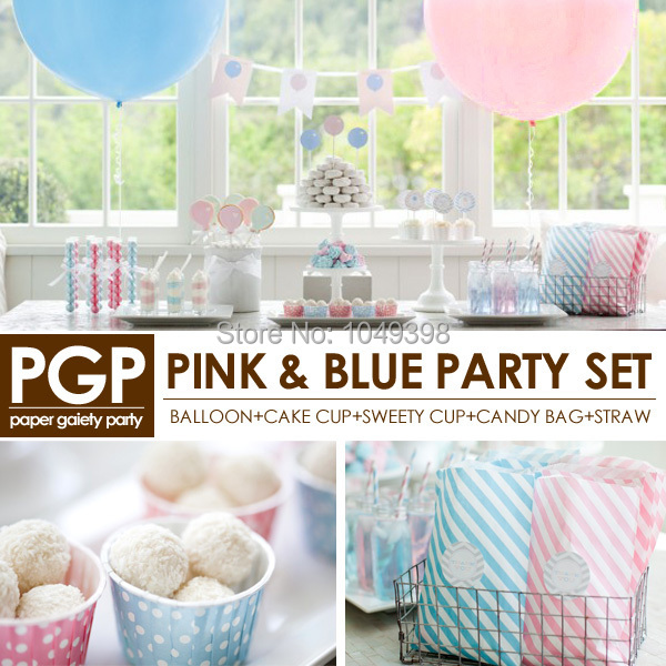 [PGP] Pink Blue Party Set, Balloon Cake Sweety cups bags Straws,for Unicorn Baby shower Kids boys girls <font><b>birthday</b></font> tableware Kit
