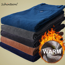 Schinteon Men Winter Warm Corduroy Pants with Thick Fleece Lining Smart Casual Straight Trouser Slim Fit Top Quality 36 38
