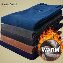 Мужские зимние теплые вельветовые брюки Schinteon с толстой флисовой подкладкой, Умные повседневные Прямые брюки, приталенные, высокое качество, 36 38