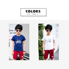 Eafreloy 2PCS Boys Summer Clothes Sets Cotton Bike T Shirt + Summer Shorts Children Clothing Sets Kids Fashion Suits Leisure T66