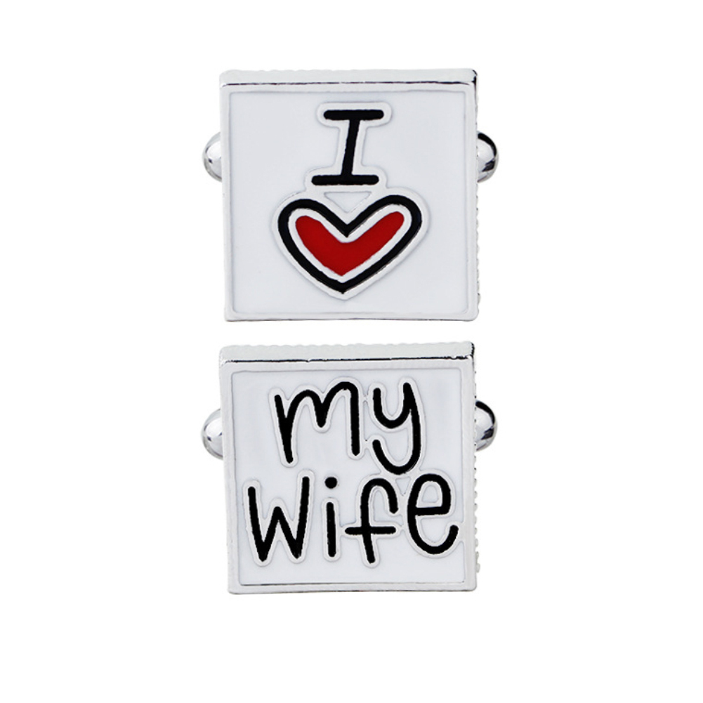 French Style Men I Love My Wife Enamel Square Shirt Suit Cufflinks Fashion Wedding Letters Print Cufflink Cuff Link