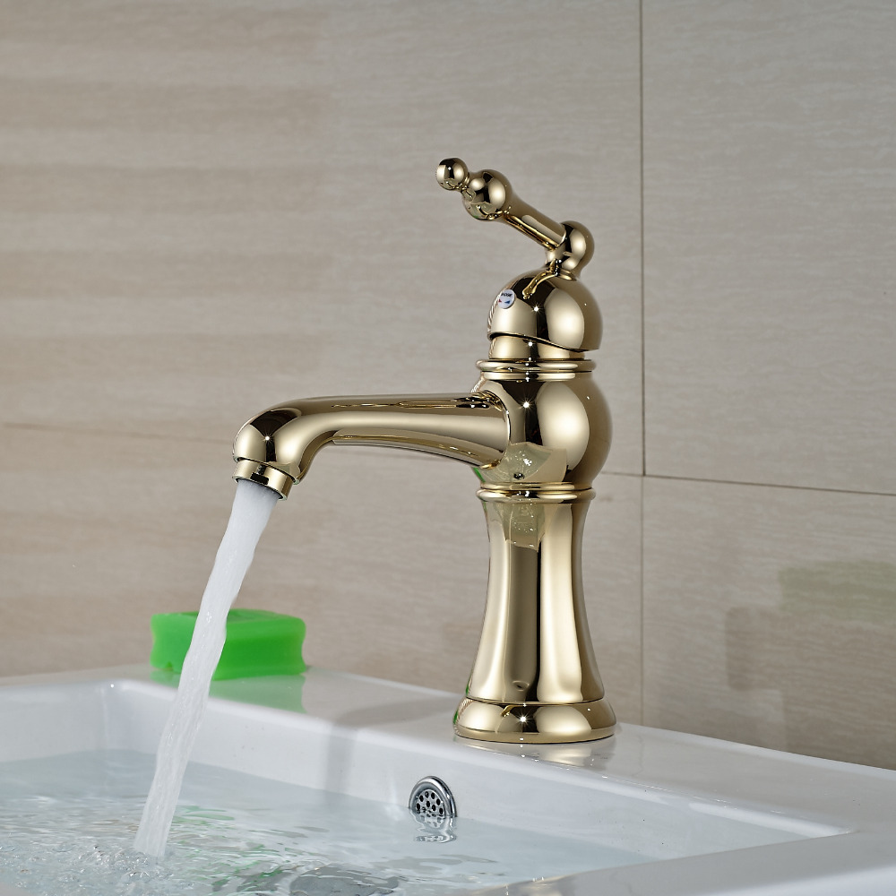 Wholesale And Retail Deck Mounted Bathroom Basin Faucet Single Handle Hole Wash Basin Solid Brass Tap Golden Finish pastoralism and agriculture pennar basin india