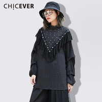 CHICEVER 2018 Spring Patchwork Lace Women T Shirts Long Sleeve Pullovers Loose Big Size Pearl Female