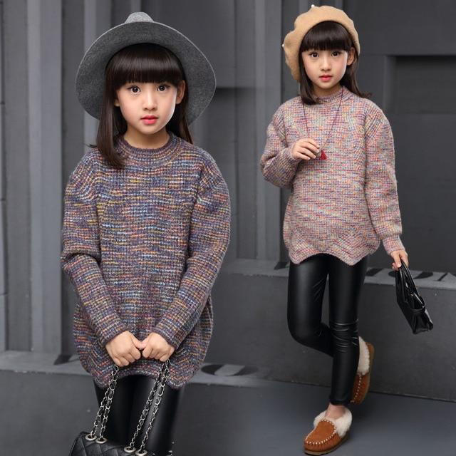 Девушка свитер ребенка осень зима 12 детей хлопок трикотаж 3 5 7 9 11 досуг вязание пальто девушки одежда
