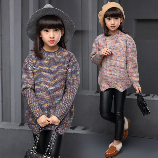 Girl sweater baby autumn winter 12 children cotton knitwear 3 5 7 9 11 leisure knitting coat of the girl's clothes