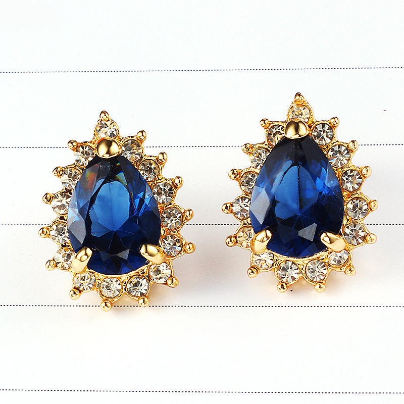 Crystal Blue Water Drop Wedding Earrings Korean Fashion Statement Plated Gold Online Ping India Studs