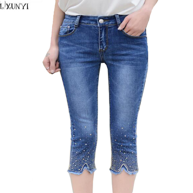 LXUNYI Summer Skinny jeans Woman High Waist Stretch Slim Capri Pants Women 2017 Plus Size Rhinestone Denim Pencil Pants Female rosicil women vintage low waist jeans pencil stretch denim pants female slim skinny trousers for woman womens plus size