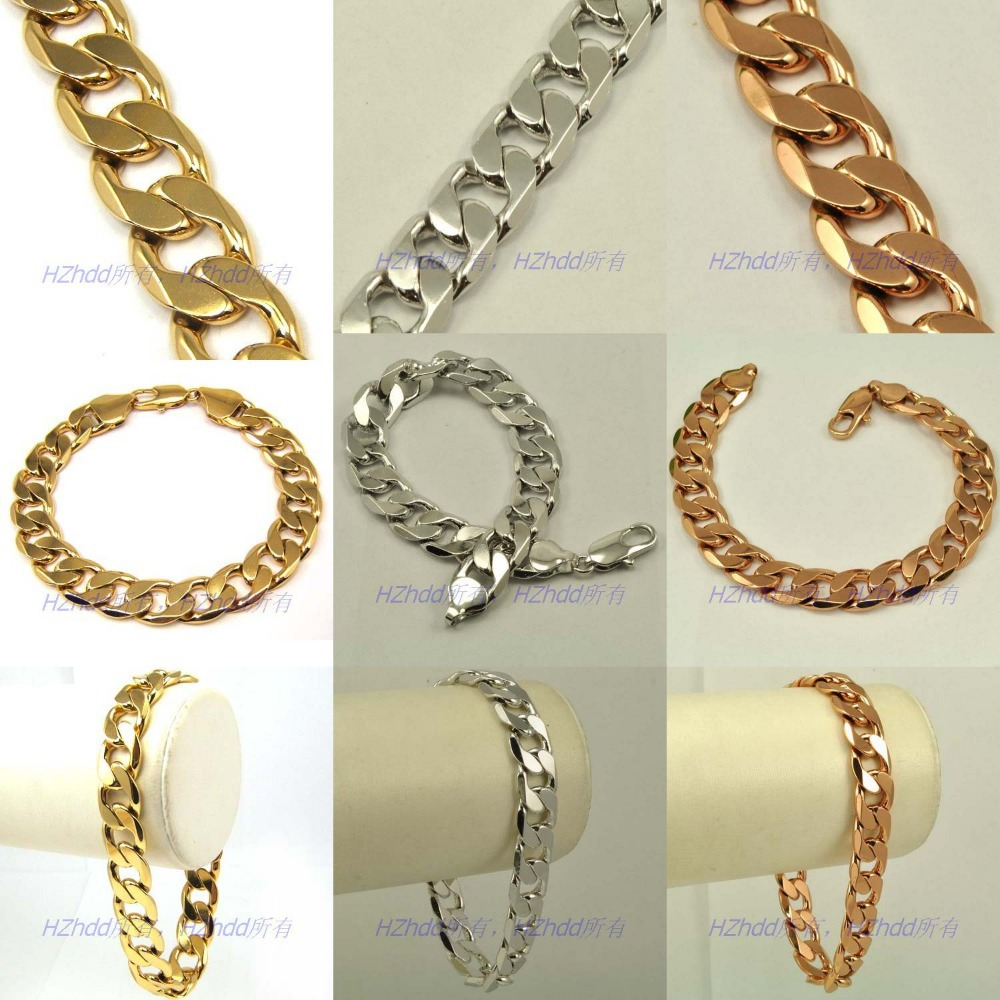 chaine chain hip for plated links gold or hop mailles men bracelet epaisses thick plaqu jewelry cuban