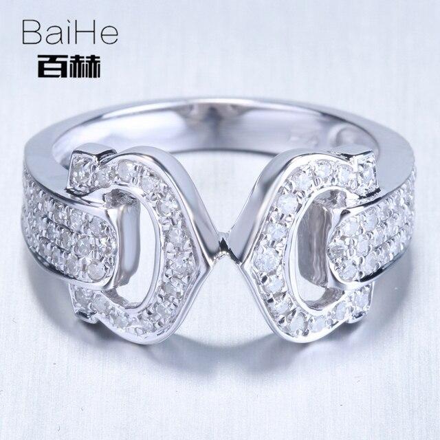 BAIHE Solid 14K White Gold(AU585)0.5CT Certified H/SI Round Cut Genuine Natural Diamonds Wedding Women Trendy Fine Jewelry Ring