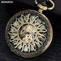 FOB мужчины карманные часы старинные механические часы BOAMIGO скелет роман количество часы медь цветочный дизайн часы reloj hombre