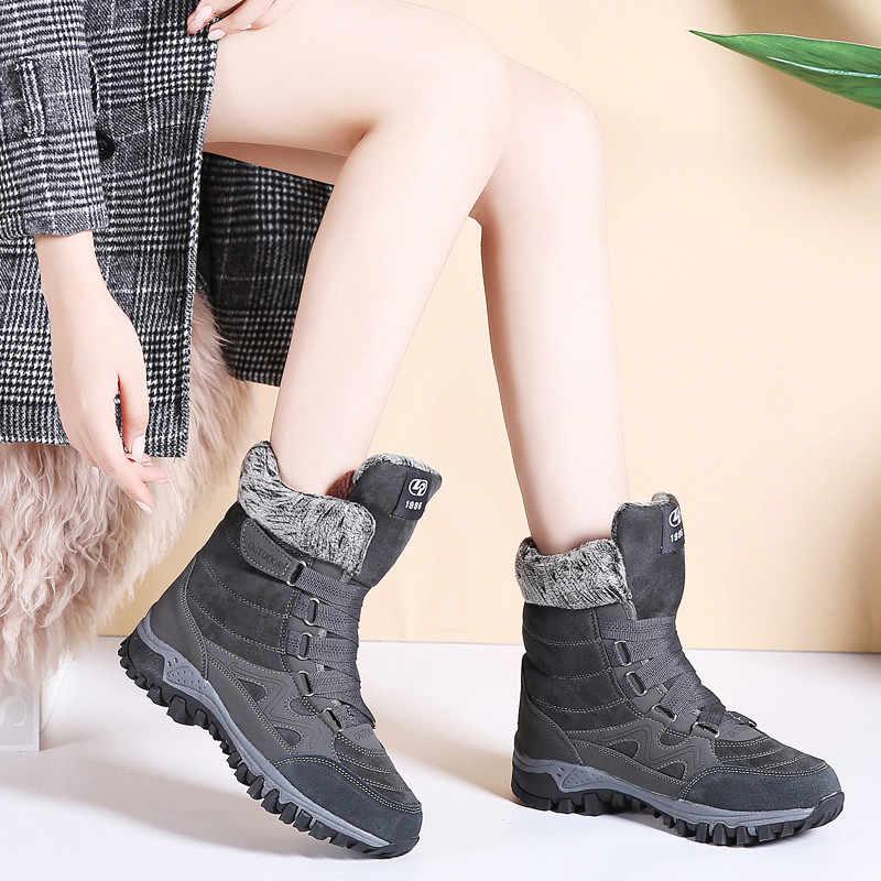 PINSEN 2020 yeni kadın botları yüksek kaliteli deri süet kışlık botlar kadın sıcak tutmak dantel up su geçirmez kar botları botas mujer