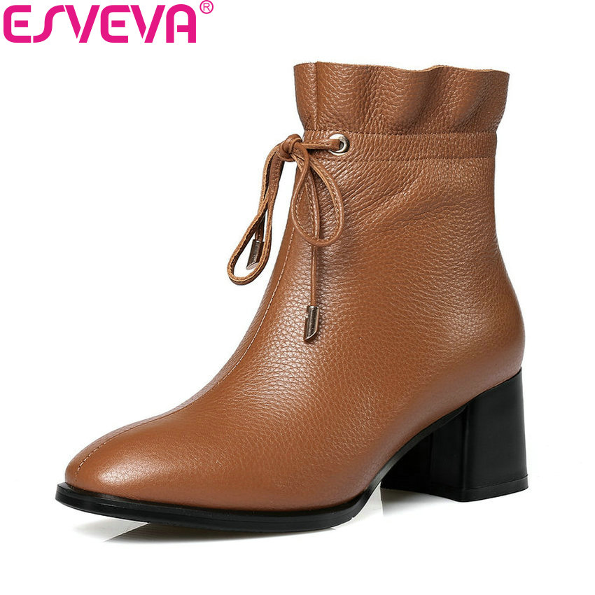 ESVEVA 2018 Women Boots Ankle Boots Spring Autumn Square High Heels Synthetic/PU PU+Real Leather Elegant Ladies Boots Size 34-42 wldslure 1pc 54g minnow sea fishing crankbait bass hard bait tuna lures wobbler trolling lure treble hook