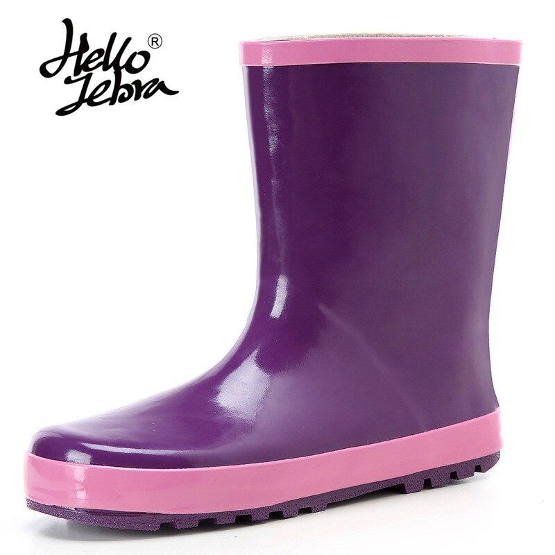 Hellozebra 2018 New Women Purple Rubber Rain Boots Flat Heels Mid-calf Rainboots Waterproof Water Shoes Woman Wellies Boots rubber high red zipper boots horse riding gumboots rainboots women rain boots botte de pluie stivali donna wellies bot