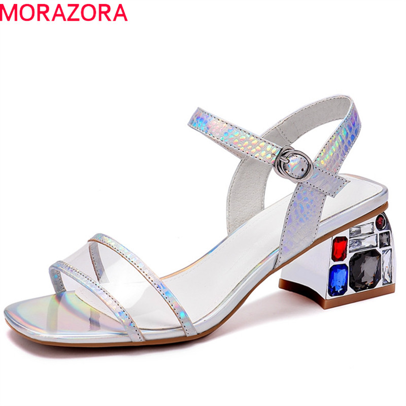 MORAZORA 2019 new arrival genuine leather shoes women sandals Transparent crystal square high heels party prom shoes woman MORAZORA 2019 new arrival genuine leather shoes women sandals Transparent crystal square high heels party prom shoes woman