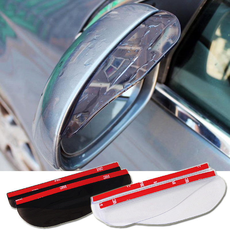 2pcs/lot Flexible PVC Car Rear view Mirror sticker rain eyebrow weatherstrip auto mirror Rain Shield shade cover protector guard 4pcs set smoke sun rain visor vent window deflector shield guard shade for cadillac xt5 2016 2017