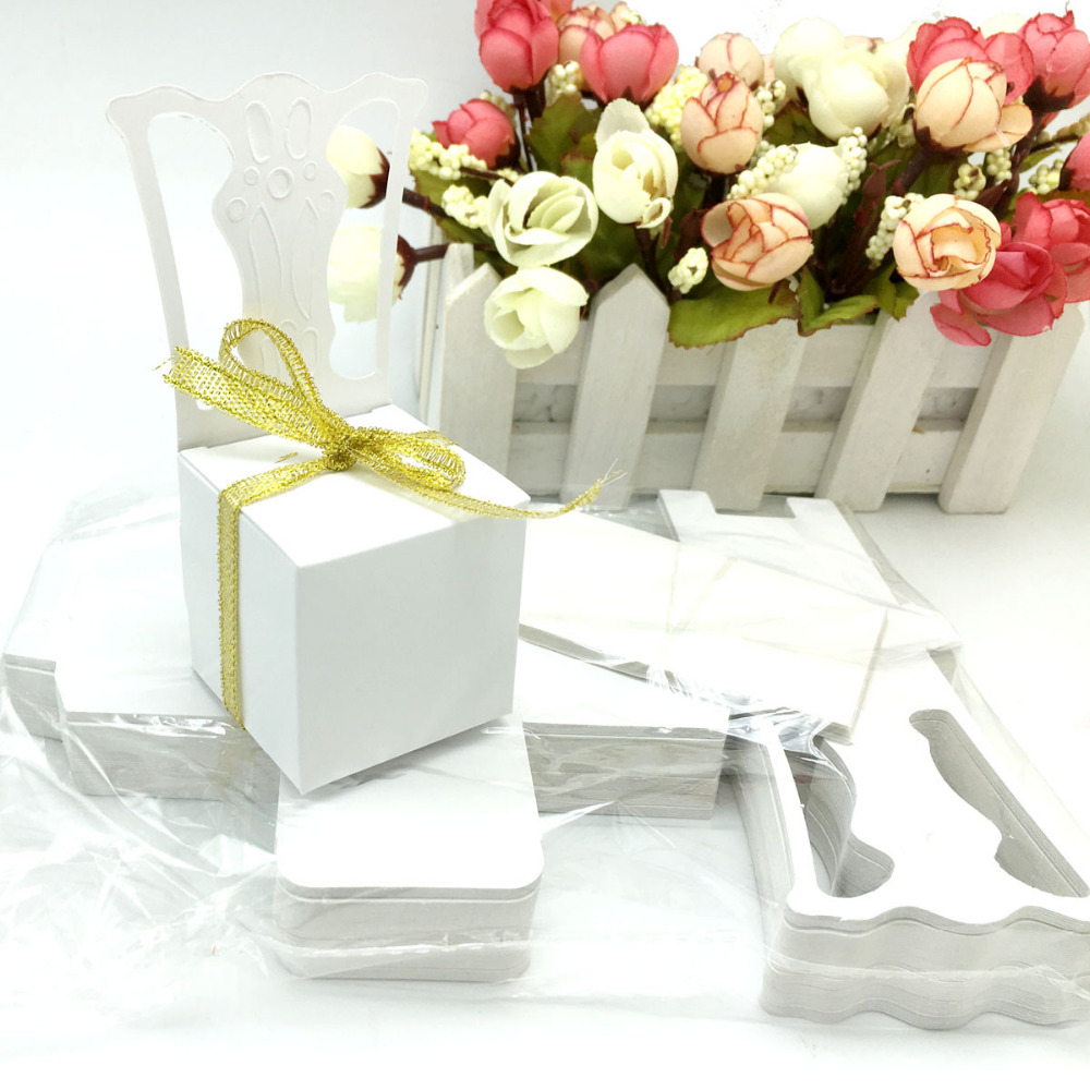 100pcs/lots Chair Shape Place Card Holder Wedding Candy Box Gift ...