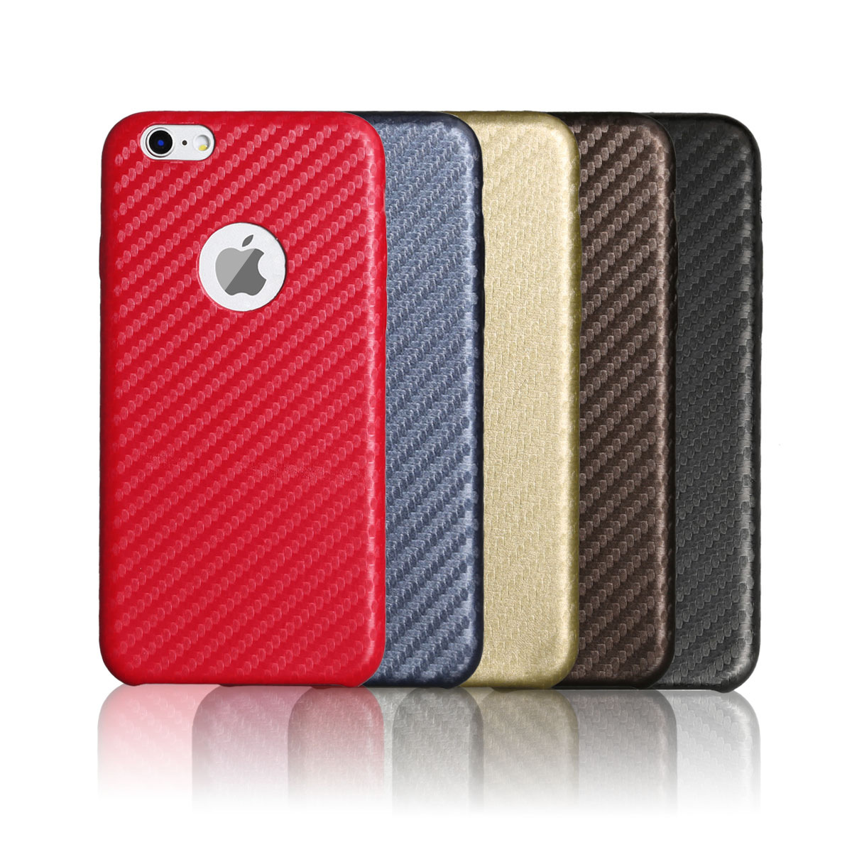 Carbon Fiber Pattern Glossy Matting PU leatherBack Cover Protective Shell Cases Phone Case For iPhone 5/5s/se 6/6s 7/7Plus
