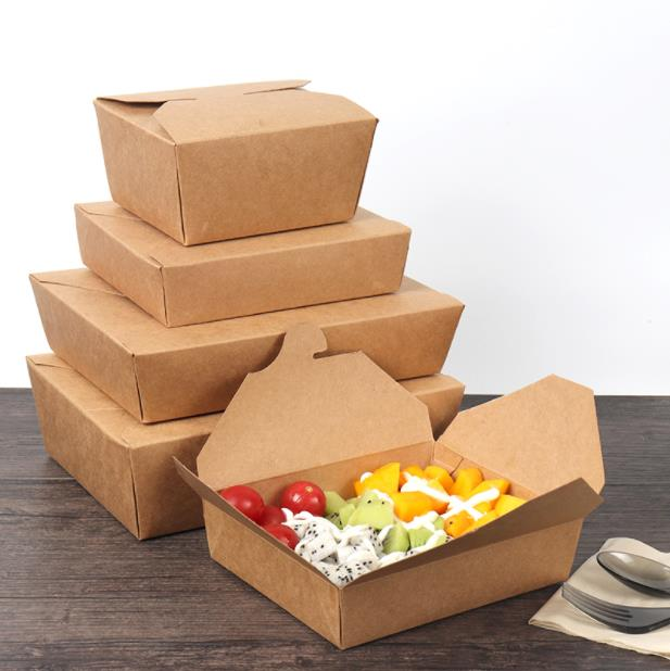 50PC Various Fast Food Shop Disposable Take Out Kraft Paper Takeaway Box Restaurant Sushi Salad Food Packaging Wrapping Supplier
