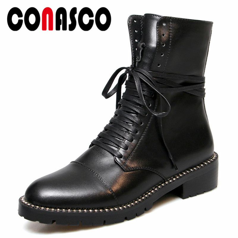 CONASCO New Women Punk Lace Up Motorcycle Boots High Heels Round Toe Genuine Leather Rock Party Night Club Boots Shoes Woman 2018 new punk gothic genuine leather women lace up botas sandals lace up open toes sexy lady high heels club party dancing shoes