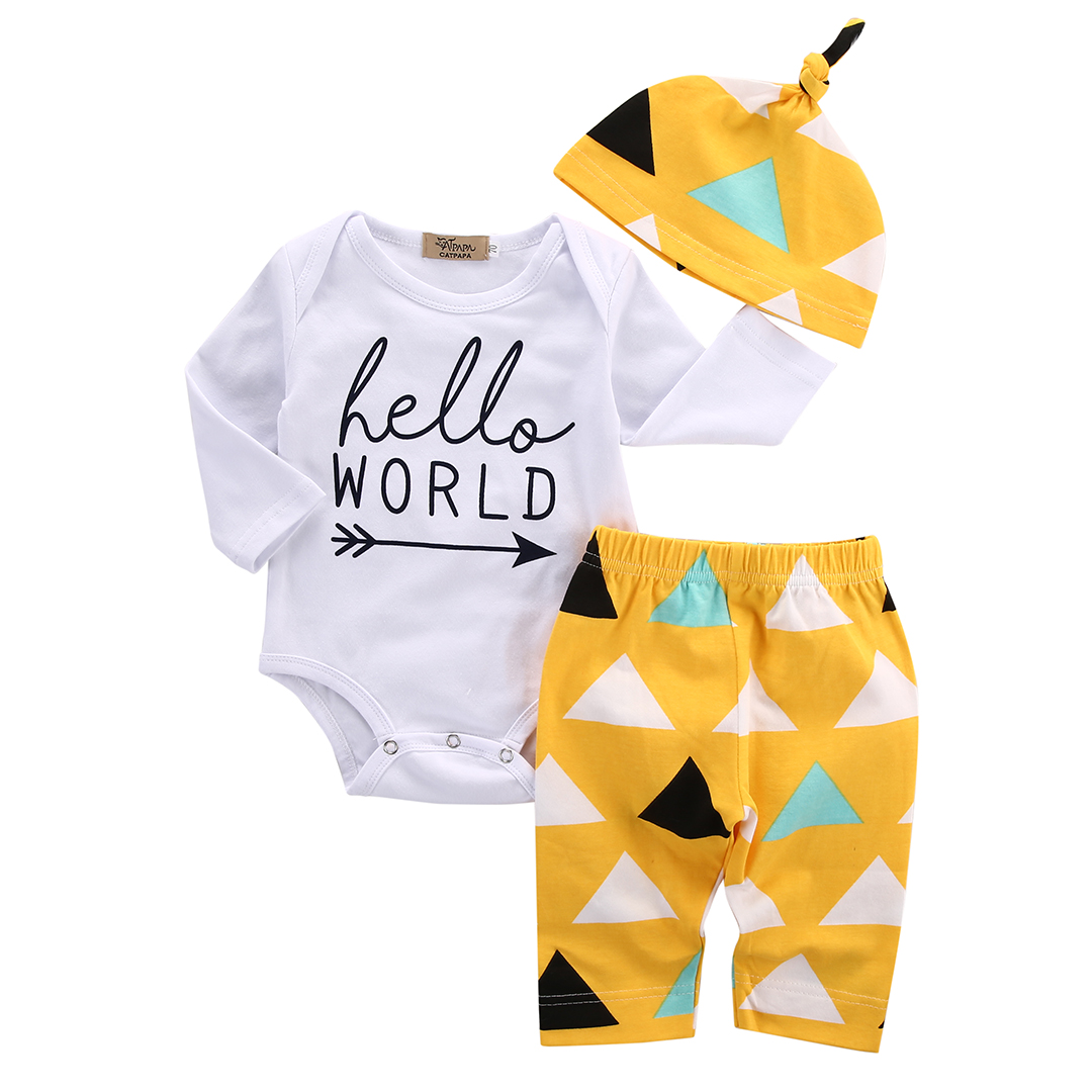 Hi Hi Baby Store Cute Newborn Infant Girl Boy Baby Bear Romper Pants Hat 3pcs Cotton Outfits Set Clothes 0 24m newborn infant baby boy girl clothes set romper bodysuit tops rainbow long pants hat 3pcs toddler winter fall outfits
