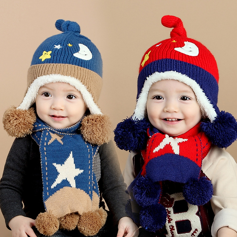 2016 Winter Baby Hat and Scarf Cute Moon and Stars Crochet Knitted Caps for Infant Boys Girls Children Kids Neck Warmer