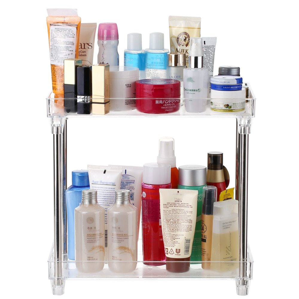 2-Tier Cosmetic Storage Shelf  Tray Storage Shelf Caddy Stand for Bathroom Vanity Countertop Makeup Storage Organizer