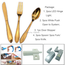 9x Golden Spoon Knife Fork Kitchen Cabinet Drawer Handle+1x Cartoon Door Stopper+5x Push to open system+2x Led Hinge Light