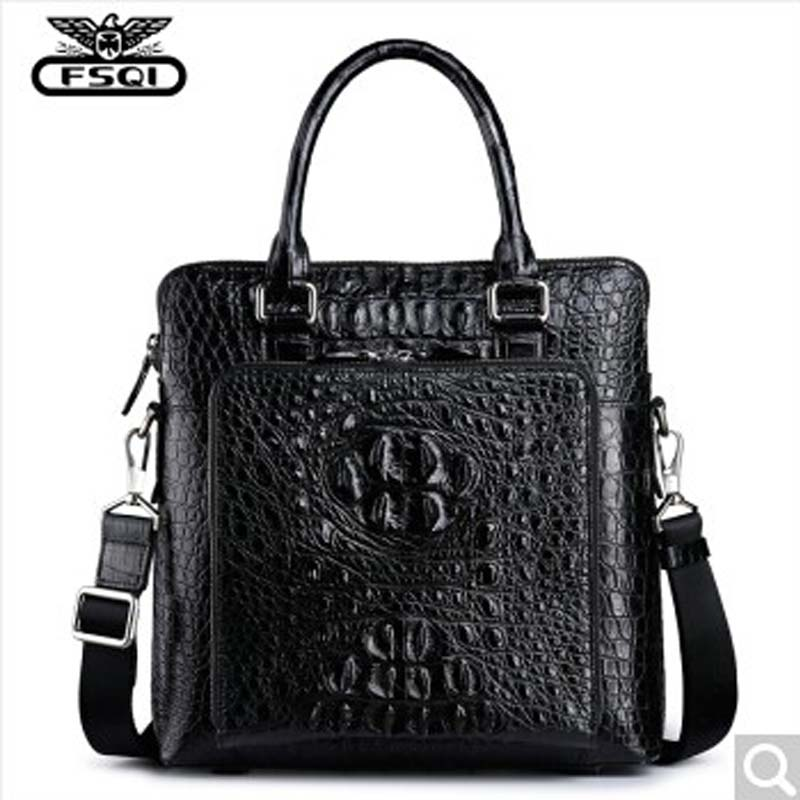 fasiqi crocodile leather briefcase man business ol vertical real bag fashion men's bag business package vertical version
