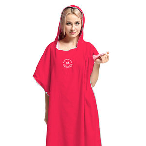 Image 3 - 90*110 Microfiber Beach Towel Wetsuit Changing Robe Poncho with Hood Quick Dry Hooded Towels for Swim Man Women Bathrobe Towels