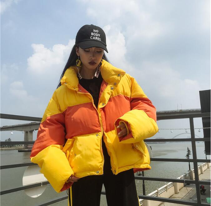2018 Autumn Winter Women Macaron Color Spliced Loose Long Sleeve Warm Jackets Coat