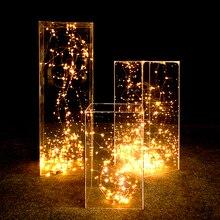 Centres de table de scène de fête de mariage toile de fond acrylique transparent route plomb cristal pliant colonne support de fleur décorations