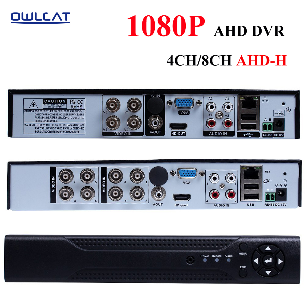 цена OWLCAT New Arrival AHD-H 1080P 4 Channel AHD DVR Recorder 3 in 1 Hybrid DVR 8 Channel AHD DVR 1080P AHDH For 1080P AHD Camera