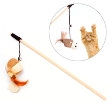 Funny Cat Interactive Toy Wooden Stick Dangle Mouse Ball With Feather Bell Interactive Cat Games Elastic Rope Toys