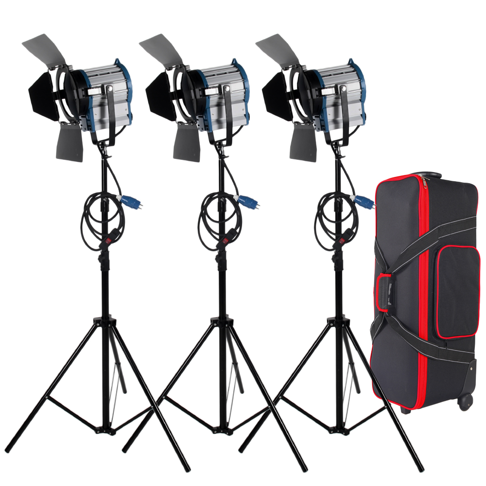 Free shipping 3 X 1000W Studio Fresnel Tungsten with dimmer control Spotlight Video Light Kit Lighting with Carry Case cheap dimmable 1200w hmi fresnel light daylight electronic ballast with case lighting film for movie light sdutio lighting