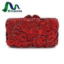 Milisente Vintage Stil Blume Kristall Abendtaschen Frauen Feste Rote Handtasche Dame Hochzeit Geldbörse Mit Kette Diamant Handtaschen