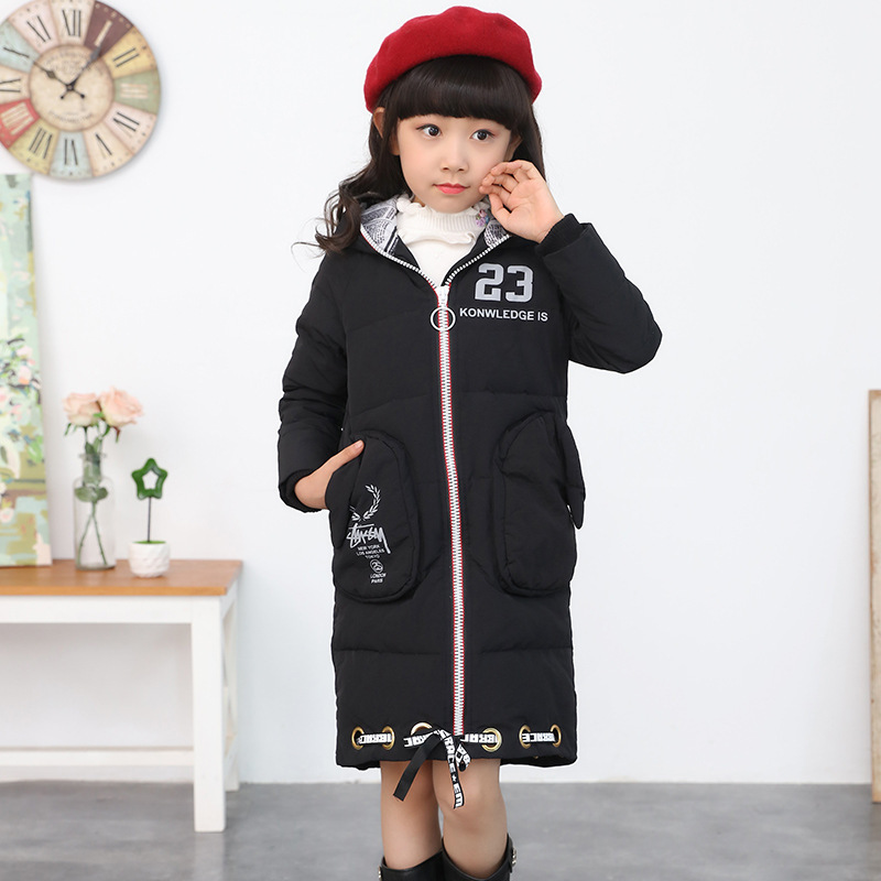 Fashion Girl Winter Parkas Coat Down Children Clothing Baby Outerwear Hood Thick Winter Jackets for Girls Long Section Kids