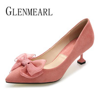 Brand Women Shoes High Heels Woman Pumps Black Silk Bow Pointed Toe Spring Pumps Female Thin