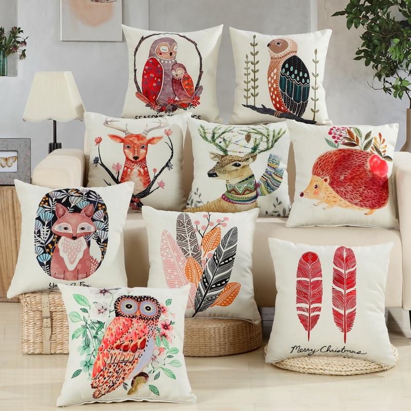 RUBIHOME Animal Design Owl Decorative Throw Pillows Cushions Cover Print Deer Birds Rabbit for Sofa Home Decor Polyester