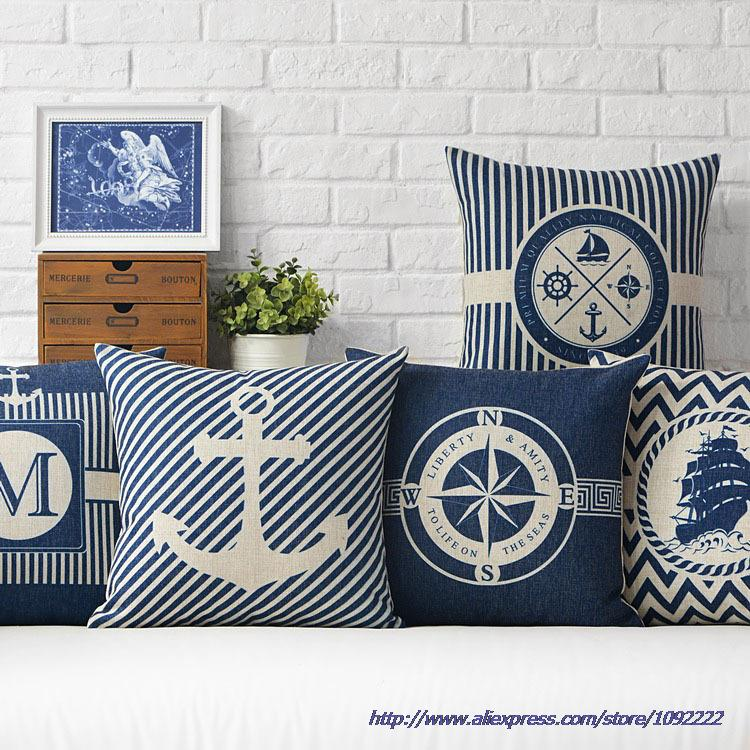 Nautical Decorative Throw Pillows Anchor Sailor Map Cushion Cover Home Decor Blue Cushion Anchor Throw Pillow Case For Sofa