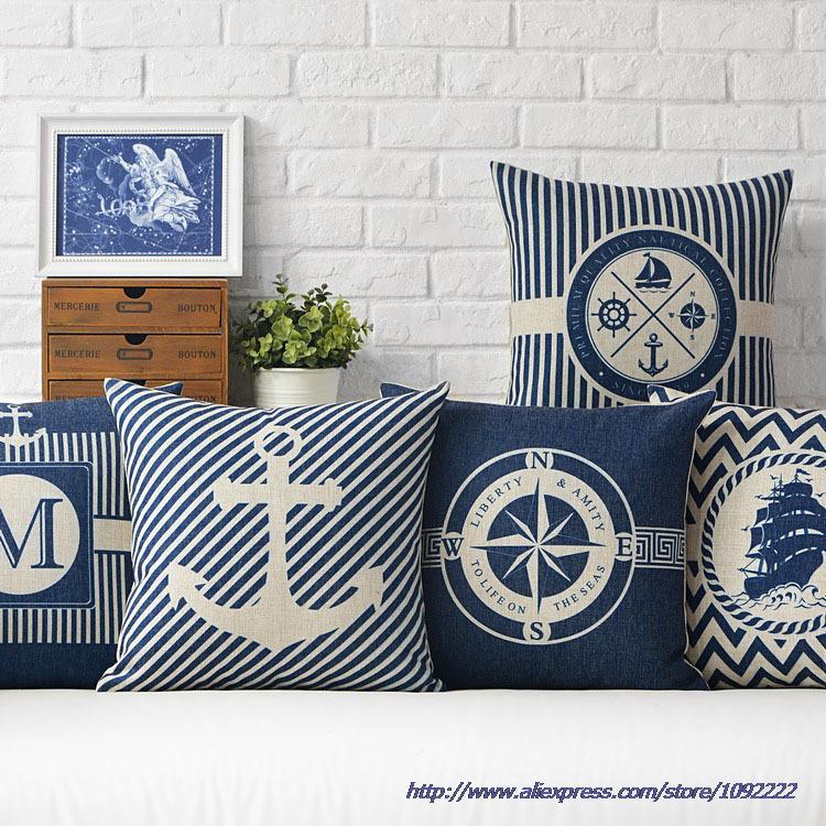 Nautical Decorative Throw Pillows Anchor Sailor Map Cushion Cover Home Decor Blue Cushion Anchor Throw Pillow Case For Sofa