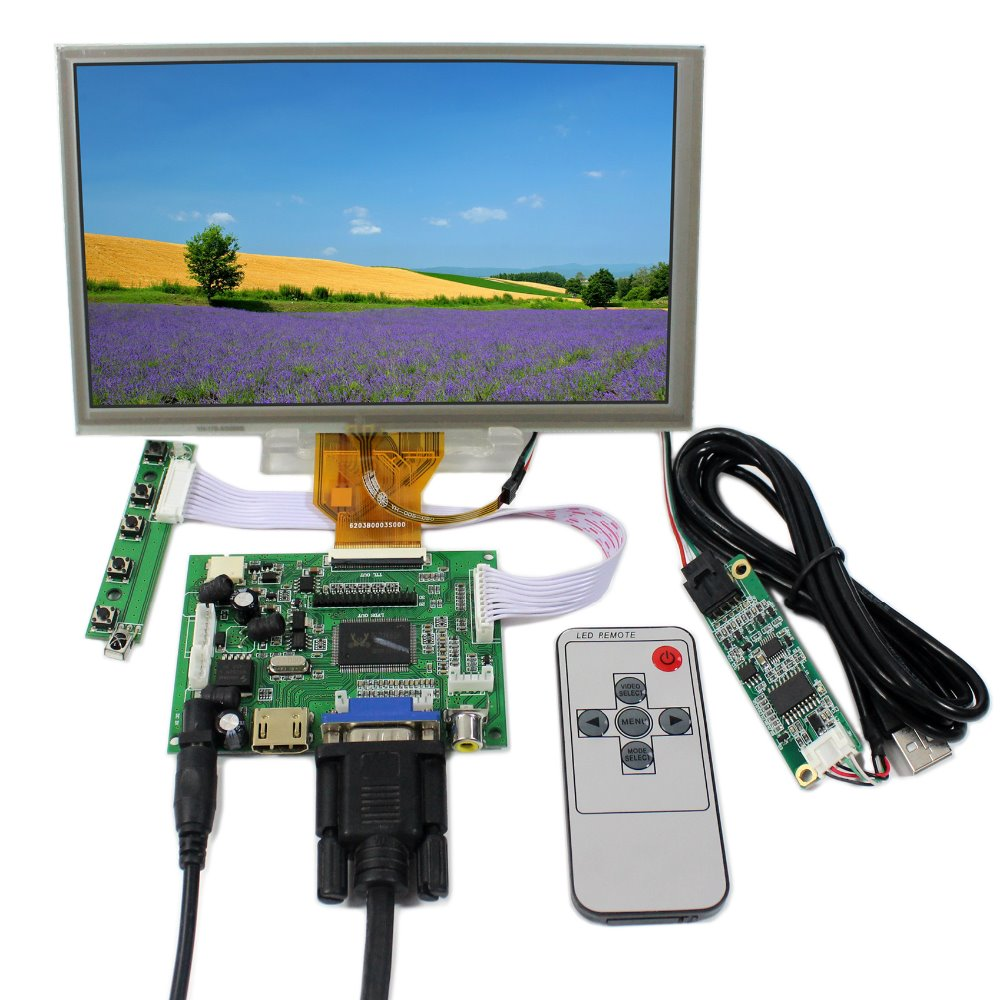 HDMI VGA 2AV LCD Controlle Board+ 8 AT080TN64 800x480 With Touch Panel hdmi vga 2av lcd driver board vs ty2662 v1 71280 800 n070icg ld1 ld4 touch panel