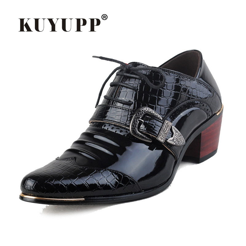 Patent Leather Oxford Shoes For Men Luxury Brand Lace Up Wedding Shoes Cow Muscle Pointed Toe Medium Square Heel Shoes Men S149 2017 men s cow leather shoes patent leather dress office wedding party shoes basic style pointed toe lace up eu38 44 size