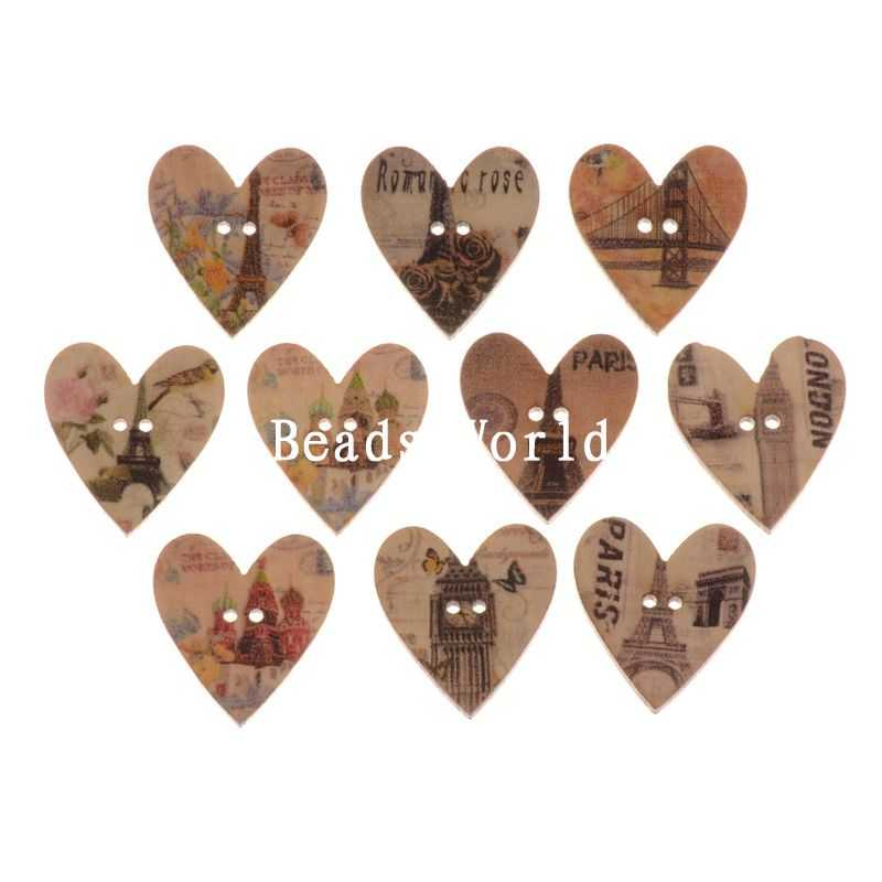 √100 corazón madera Costura decorativo Botones scrapbooking patrón ...