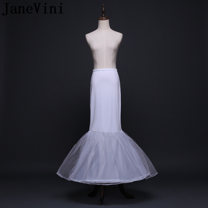 JaneVini White Mermaid Long Petticoat for Wedding Dress Wedding Petty Coat Underskirt Tul Blanco Bridal Crinoline Petticoats in Petticoats from Weddings Events