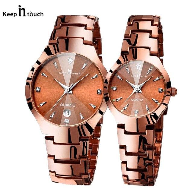 Luxury Brand Tungsten Steel Couples Watch Men Women Quartz Watches Montre Dress Women Men Watch For Lover Reloj Mujer