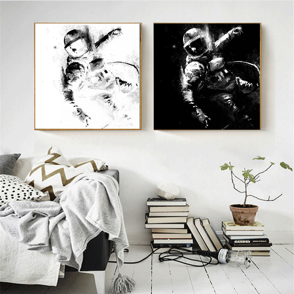 Black And White Artwork For Bedroom Us 18 6 25 Off Black And White Inkjet Astronaut Spray Painting For Bedroom Office Wall Decor Abstract Wall Art Canvas Print Home Decor Dropship In