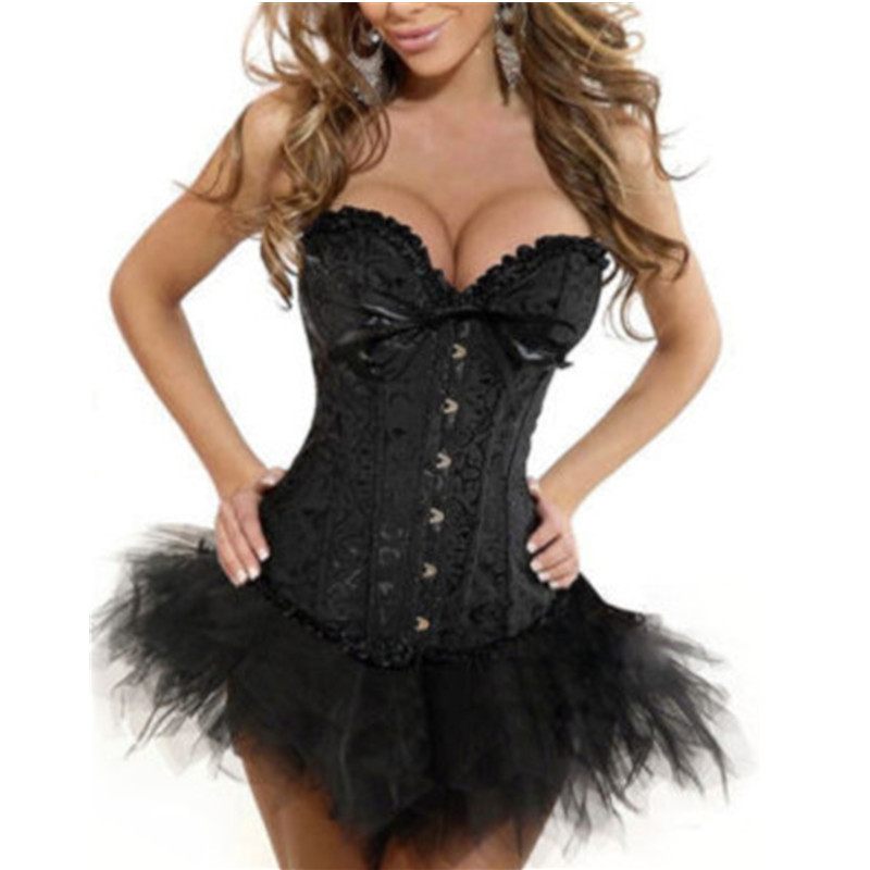 Wholesale Free P&P Recommend Sexy Lady/Girl's Boned Lace Up Back   Bustier     Corset   Lingerie/G-string&TUTU Outfit S-6XL Black CT1
