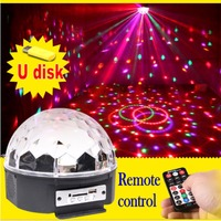 6 LED 18W Remote Control MP3 Crystal Magic Ball Led Stage Lamp Disco Laser Light Party Lights Sound Control Christmas Light KTV